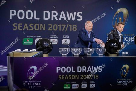 2017-2018 EPCR European Rugby Champions Cup & European Rugby Challenge Cup Pool Draws, Chateau de Neuchâtel, Neuchâtel, Switzerland 8/6/2017. Presenters Ieuan Evans and Austin Healey during the draw