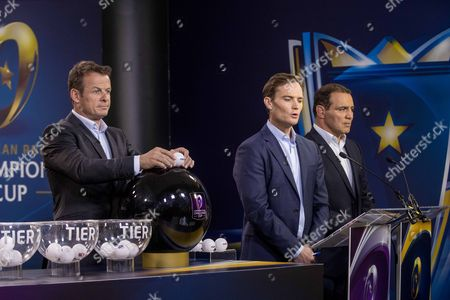 2017-2018 EPCR European Rugby Champions Cup & European Rugby Challenge Cup Pool Draws, Chateau de Neuchâtel, Neuchâtel, Switzerland 8/6/2017. Presenters Austin Healey, James Gemmell and Raphael Ibanez during the draw