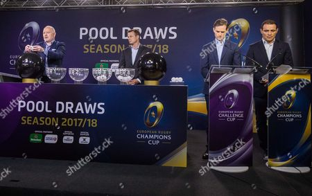 2017-2018 EPCR European Rugby Champions Cup & European Rugby Challenge Cup Pool Draws, Chateau de Neuchâtel, Neuchâtel, Switzerland 8/6/2017. Ieuan Evans, Austin Healey, James Gemmell and Raphael Ibanez during the draw