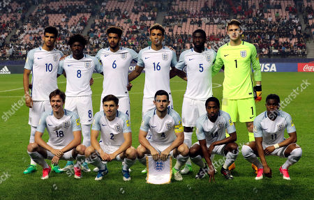 England's team players, back row from left, Dominic Solanke, Ainsley Maitland-Niles, Jake Clarke-Salter, Dominic Calvert-Lewin, Fikayo Tomori, Freddie Woodman, and front row from left, Kieran Dowell, Jonjoe Kenny, Lewis Cook, Kyle Walker-Peters, Ademola Lookman, pose for the team photo before their semi final soccer match against Italy in the FIFA U-20 World Cup Korea 2017 at Jeonju World Cup Stadium in Jeonju, South Korea