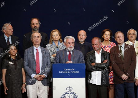 Director of the Spanish Royal Academy and president of the Jury of the Princess of Asturias Letters Award, Dario Villanueva (3L, front row), announces Polish writer Adam Zagajewski as the winner of this year's edition in Oviedo, Spain, 08 June 2017. Every year, the Princess of Asturias Foundation awards those who make significant achievements in different areas such as Science, Arts, Literature, Humanities and Sports.