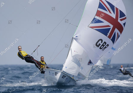 British yatchwomen Hannah Mills and Eilidh McIntyre compete in the 470 Class category.