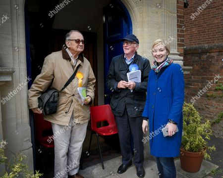 Stock Photo of Nicola Blackwood, Conservative MP for Oxford West and Abingdon marginal seat, poses outside the polling station in Oxford West and Abingdon