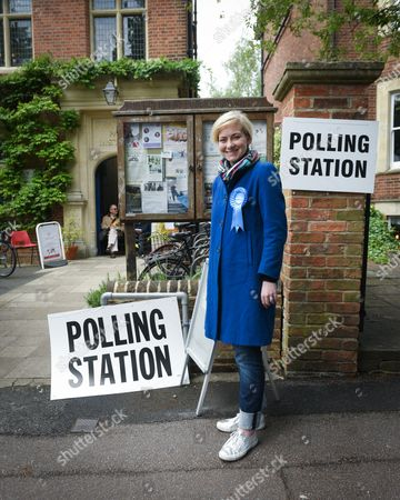 Stock Picture of Nicola Blackwood, Conservative MP for Oxford West and Abingdon marginal seat, poses outside the polling station in Oxford West and Abingdon