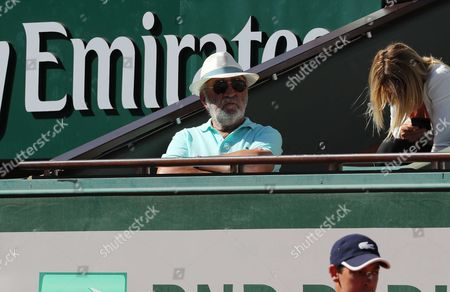 Romanian former tennis player Ion Tiriac is watching Latvian tennis player Jelena Ostapenko in action during her match in the semi final of the WTA French Open in Roland Garros vs Swiss tennis player Timea Bacsinszky