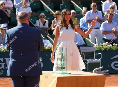 Former tennis champion Serbian Ana Ivanovic is receiving a trophy in her honor