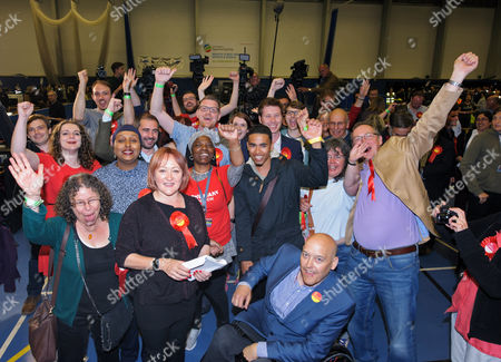 Kerry McCarthy celebrates with Labour supporters as she wins Bristol East for Labour at City of Bristol Academy, beating Tory candidate Theo Clarke