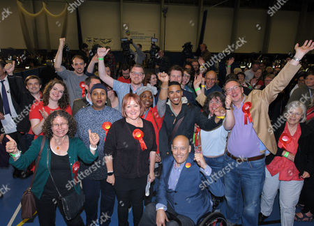 Stock Picture of Kerry McCarthy celebrates with Labour supporters as she wins Bristol East for Labour at City of Bristol Academy, beating Tory candidate Theo Clarke