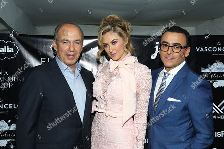 Stock Photo of Felipe Calderon, Aracely Arambula and Adal Ramones