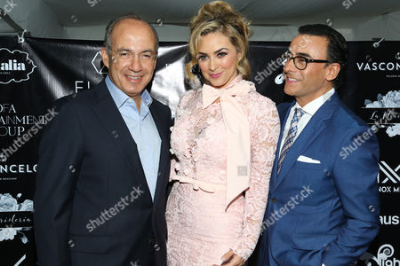 Stock Image of Felipe Calderon, Aracely Arambula and Adal Ramones