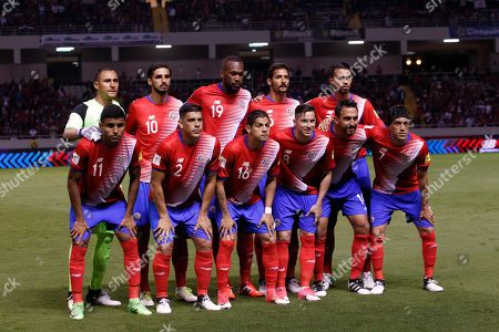 Costa Rica's soccer team members pose for a photo before the start of a 2018 Russia World Cup qualifying soccer match with Panama at the National stadium in San Jose, Costa Rica, . Back row from left are goalkeeper Keylor Navas, Bryan Ruiz, Kendall Waston, Celso Borges and Giancarlo Gonzalez. Front row from left are Johan Venegas, Johnny Acosta, Cristian Gamboa, Bryan Oviedo, Randall Azofeifa and Christian Bolanos