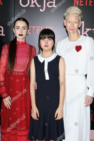 Lily Collins, Seo-Hyeon Ahn and Tilda Swinton