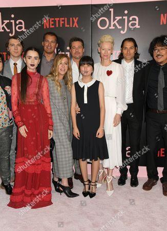 L-R: Lily Collins, Tara Subkoff, Erik Jan de Boer, Brad Pitt, Tilda Swinton, Jeremy Kleiner, Joon-ho Bong