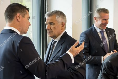 Juan Antonio Samaranch Jr., (C), International Olympic Committee, IOC, vice-president talks with IOC sports director Kit McConnell, (L), next to Sergei Bubka, (R), member of the International Olympic Committee, prior to the opening of the executive board meeting, at the IOC headquarters, in Pully near Lausanne, Switzerland, 09 June 2017.