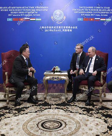 Stock Picture of Tsakhiagiin Elbegdorj and Vladimir Putin