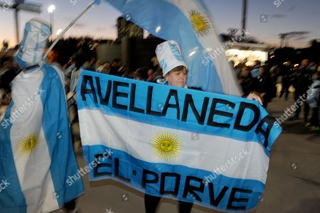 Argentinian fans celebrate outside the stadium, in the lead up to an International friendly between Argentina and Brazil, at the MCG in Melbourne, Australia, 09 June 2017.