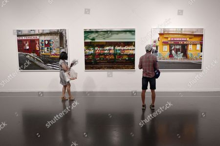 Stock Picture of Visitors look the work called 'France' by Raymond Depardon at the exhibition of the fondation Cartier at the Seoul Museum of Art in Seoul, Korea, 09 June 2017. The exhibition is running under the theme 'HIGHLIGHTS' from 30 May to 15 August 2017 in Seoul.