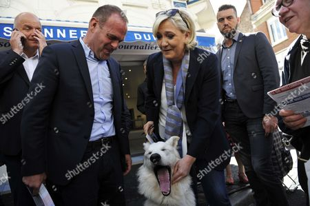 Marine Le Pen, leader of the far-right Front National (FN) party and candidate in the Pas-de-Calais department for the upcoming parliamentary elections and Henin-Beaumont Mayor Steeve Briois campaigning