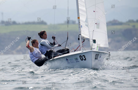 Spanish yatchwomen Silvia Mas Depares (R) and Patricia Cantero Reina (L) in the 470 M category during the Sailing World Cup final held in Santander, Spain, on 09 June 2017.