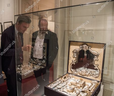 Georg von Habsburg looks on a travelling toilette kit on display during the opening ceremony of the exhibition 'The Travelling Court' at the Godollo Royal Castle in Godollo, some 30 kms northeast of Budapest, Hungary, 09 June 2017. The exhibition was opened on the occasion of the 150th anniversary of the Hungarian coronation of Austria Hungary Emperor Franz Joseph and Empress Elisabeth in 1867.