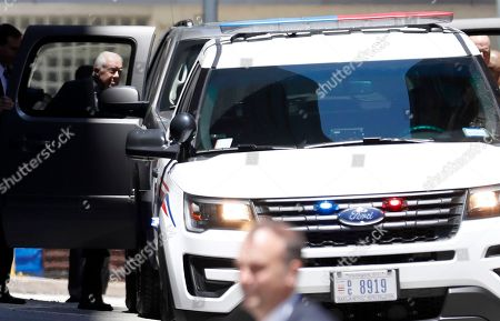Former President Jimmy Carter, left, departs after the funeral for his national security adviser Zbigniew Brzezinski, at the Cathedral of Saint Matthew the Apostle, in Washington