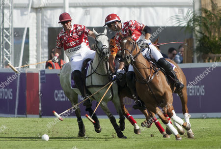 Stock Picture of Malcolm Borwick (3) and George Meyrick (2) in action, Chestertons Polo in the Park 2017, Hurlingham Park, London SW6, United Kingdom, 9th June 2017