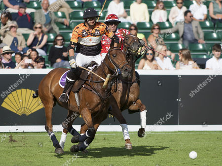 Jamie Morrison (3) of Whitley Neill Team Cape Town is shadowed by Malcolm Borwick (3) of Mint Team London, Chestertons Polo in the Park 2017, Hurlingham Park, London SW6, United Kingdom, 9th June 2017