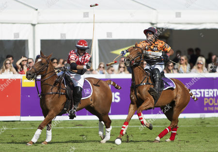 Malcolm Borwick (3) of Mint Team London battles with Joaquin Pittaluga (2) of Whitley Neill Team Cape Town, Chestertons Polo in the Park 2017, Hurlingham Park, London SW6, United Kingdom, 9th June 2017