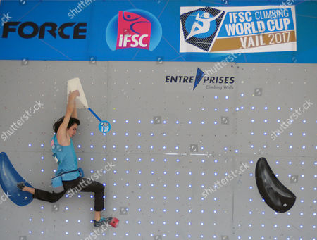 Vail, Colorado, U.S. - USA's, Sean Bailey #55, tops his first climbing problem in the IFSC Climbing World Cup during the GoPro Mountain Games, Vail, Colorado. Adventure athletes from around the world meet in Vail, Colorado, -11, for America's largest celebration of mountain sports, music, and lifestyle