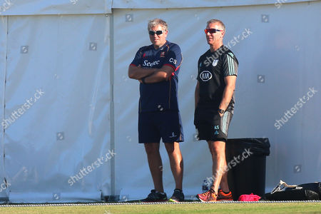 Alec Stewart of Surrey (R) and Chris Silverwood of Essex look on during Surrey CCC vs Essex CCC, Specsavers County Championship Division 1 Cricket at Guildford CC, The Sports Ground on 10th June 2017