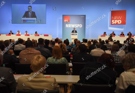 Mike Groschek, acting Minister for Transport in North Rhine-Westphalia and designated leader of the Social Democratic Party in the German state of North Rhine-Westphalia, speaks at the party convention in Duisburg, western Germany, 10 June 2017. During the one-day meeting, the delegates are expected to elect new regional leader for the SPD in North Rhine-Westphalia. Groschek is candidate for new SPD's leader in North Rhine-Westphalia. SPD's election defeat on 14 May 2017 led to the resignation of party leader Hannelore Kraft.