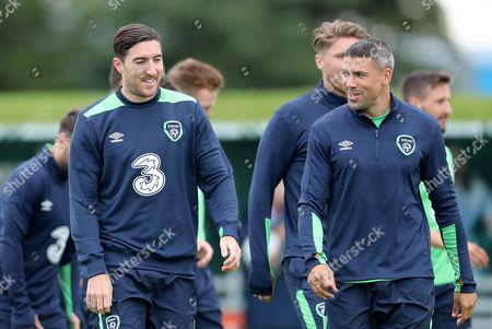Stephen Ward and Jonathan Walters at training