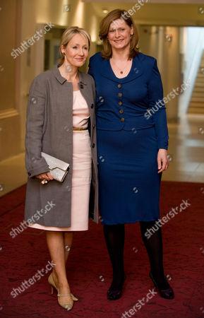 JK Rowling is met by Sarah Brown.