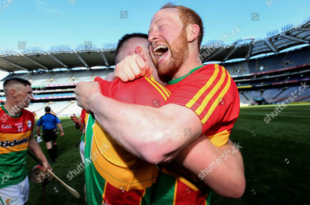 Carlow vs Antrim. Carlow's Paul Coady and Richard Kelly celebrate after the game