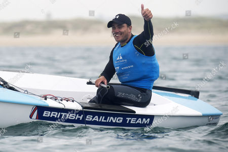 Stock Photo of British Ben Cornish celebrates in the Finn category during the Sailing World Cup final held in Santander, Spain, on 11 June 2017.