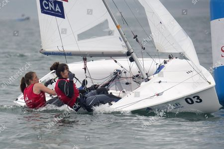 Spanish Silvia Mas Depares (L) and Patricia Cantero Reina (R) in action in the 470 category during the Sailing World Cup final held in Santander, Spain, on 11 June 2017.
