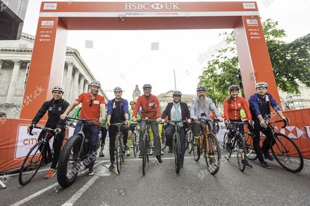 Ryan Owens, Sir Chris Hoty, Joe Truman, HSBC's Giles Morgan, British Cycling CEO Julie Harrington, Birmingham Council's Stewart Stacey, Joanna Rowsell Shand & Jack Carlin prepare to set off and open the Birmingham HSBC UK City Ride.