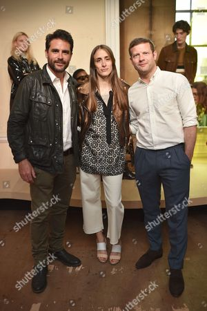 Levison Wood, Delphine Ninous and Dermot O'Leary attend the Belstaff Spring/Summer 18 presentation 'Paris to Dakar' during London Fashion Week Men's June 2017, at Somerset House
