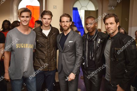 Sam Harwood, Toby Huntington-Whiteley, Craig McGinlay, Eric Underwood and Paul Sculfor attend the Belstaff Spring/Summer 18 presentation 'Paris to Dakar' during London Fashion Week Men's June 2017, at Somerset House