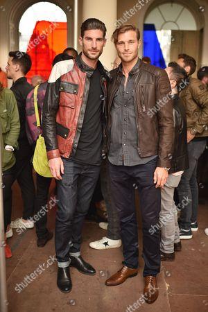 Ryan Barrett and David Frampton attend the Belstaff Spring/Summer 18 presentation 'Paris to Dakar' during London Fashion Week Men's June 2017, at Somerset House