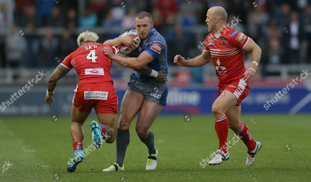 Salford?s JUNIOR SA?U STOPS Cats DEAN HADLEY WITH HELP FROM MICHAEL DOBSON Pix Magi Haroun 15.06.2017 RUGBY SUPER LEAGUE CHALLENGE CUP 1/4 FINAL  SALFORD RED DEVILS V WAKEFIELD TRINITY WILDCATS