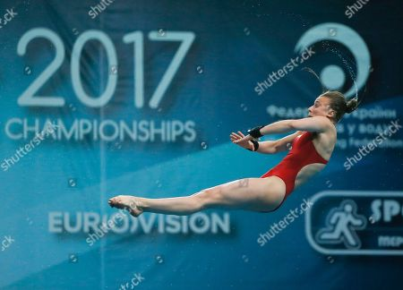 French diver Laura Marino competes on her way to win the gold medal during the Team Event Final at the European Diving Championship in Kiev, Ukraine
