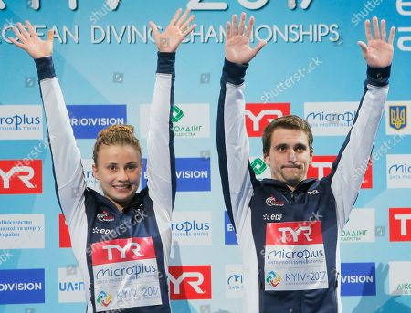 Laura Marino, Matthieu Rosset French divers Matthieu Rosset, right, and Laura Marino celebrate after winning gold medals in Team Event Final during European Diving Championship in Kiev, Ukraine