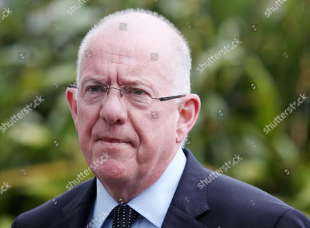 Irish Foreigner Affairs Minister Charles Flanagan pictured speaking to the press at Stormont Castle in east Belfast where he is meeting local Northern Ireland Parties.