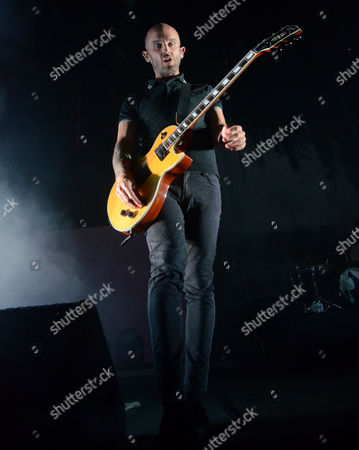 Guitarist Zach Blair of the band Rise Against performs at Huntington Bank Pavilion at Northerly Island in Chicago, Illinois