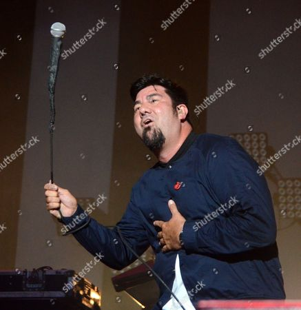 Lead singer Chino Moreno of the band Deftones performs at Huntington Bank Pavilion at Northerly Island in Chicago, Illinois