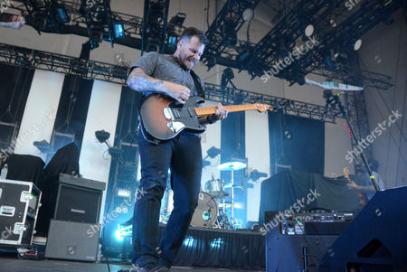 Lead singer Dustin Kensrue of the band Thrice performs at Huntington Bank Pavilion at Northerly Island in Chicago, Illinois