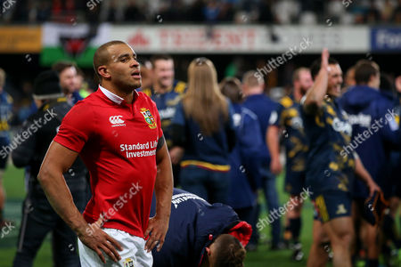 Jonathan Joseph looks dejected as leaves the field following the British & Irish Lions 1 point loss to the Highlanders