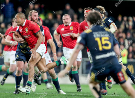 Highlanders vs British & Irish Lions. Lions' Jonathan Joseph knocks the ball on at the end of the game