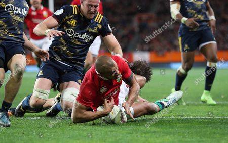 Highlanders vs British & Irish Lions. Lions' Jonathan Joseph scores his sides first try